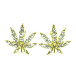 Gold and Silver Cannabis Earrings Ear Studs Diamante Detail Weed Pot