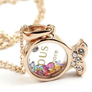 N819 Swarovski Cystal Rose Gold Fish Pendant Necklace