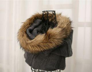 Glitters Mens Faux Fox Fur Knit Neck Warmer Scarf Xmas Gift