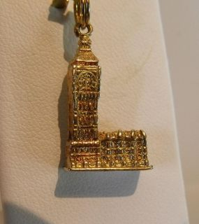 9K Yellow Gold London England Big Ben Charm Pendant