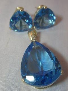 14KT Gold London Blue Topaz 16 18 Carat Pendant & 6 8 Carat Matching