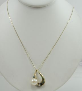 14K Yellow Gold Necklace and Pendant Black MOP Inlay Cultured Button
