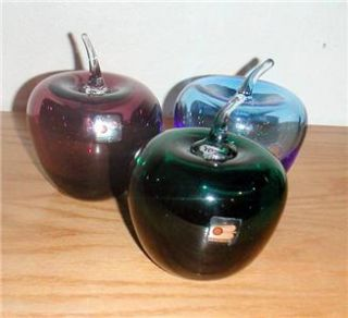 BLENKO GLASS APPLES 4 HAND BLOWN GLASS #882 RUBY , CLOVER & COBALT
