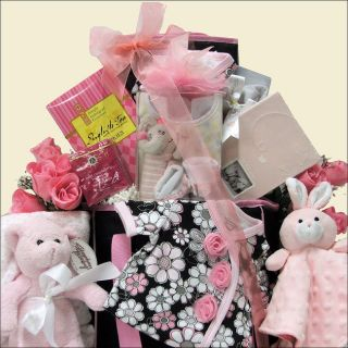 Great Arrivals Baby Girl Gift Basket w Fleece Blanket Diaper Bag Large