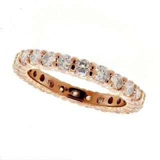 14k Pink Rose Gold Diamond Ring Eternity Band Designer