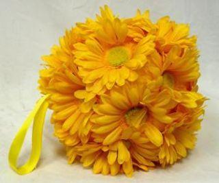 Gerbera Daisies 9 Large Balls Yellow Wedding Flowers Pew Bows