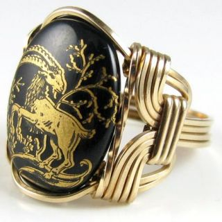 Capricorn Zodiac Sign Glass Cameo Ring 14k Rolled Gold Jewelry The