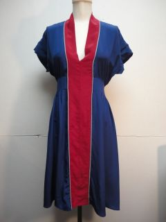 Geren Ford Blue Red Silk Dress Medium
