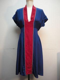 Geren Ford Blue Red Silk Dress Medium