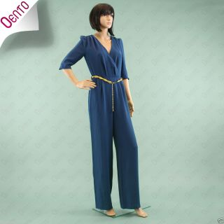 Geri Next Teal Blue Playsuit Jumpsuit Trousers with Metal Gold Belt