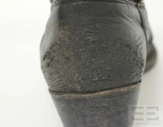 Golden GOOSE Distressed Black Leather Topstitched Western Ankle Boots