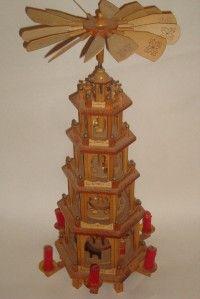 German Pyramid 5 Tier Christmas Nativity Carousel w 6 Candle Holders