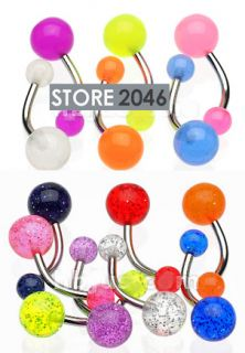 20 PC Glow in Dark Glitter Navel Rings Body Jewelry