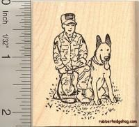 Military Dog Rubber Stamp H10405 Wm German Shepherd