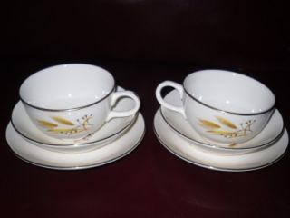 Vintage 6pc China Dinnerware Golden Wheat Harvest Cups Saucers Fruit