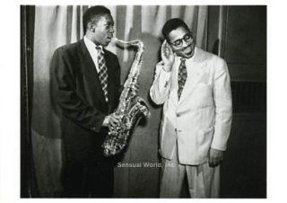 John Coltrane Dizzy Gillespie Postcard Jazz Saxophone