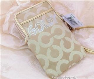 Coach Poppy Chan Goldy Signature GD Universal Case Wristlet Bag Purse