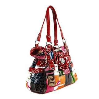 Design Patchwork Multi Color Hobo Bag Handbag Phone Holder New Red
