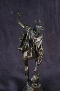Bronze Handcrafted Art Sculpture Roman Mythical Flying Mercury Nude