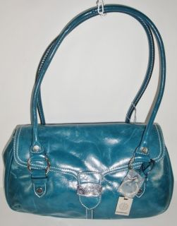 Giani Bernini Teal Blue Leather Like Flap Shoulder Handbag Authentic