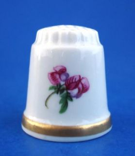 Goebel Porcelain Thimble Pink Roses Gold Band Germany