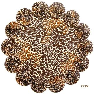 Bold 11 Giraffe Animal Print Brown Tan Fabric YoYo Candle Mat