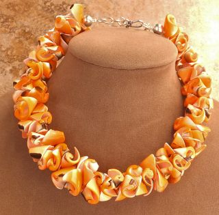 Necklace Silver or Gold Jewelry Beach Ready White Peach Big