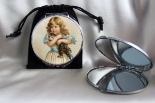 Victorian Girl with Cat Compact Mirror Silvertone with Pouch