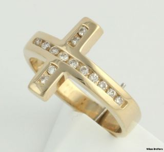 21ctw Genuine SI1 2 Diamond Cross Ring 14k Yellow Gold Band Crucifix