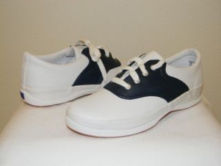 School Days Navy & White Leather Oxford Saddle SHOES youth size 5.5 S