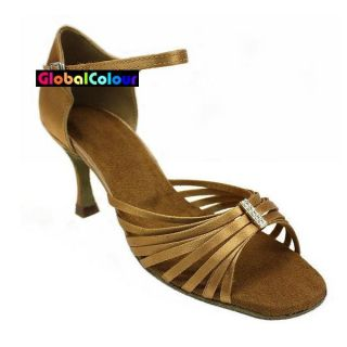 GC Tan Satin Latin Ballroom Salsa Dance Shoes All Sizes C533