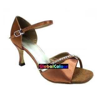 GC Tan Satin & Glitter Stone Latin Ballroom Salsa Dance Shoes All Size
