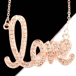 Rose Gold Embellished Crystal Gem Sweet Love Women Fashion Necklace