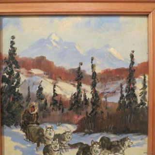 Ellen Henne Goodale Alaska Oil Painting Eskimo Sled Dog Team Original
