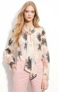 New Trina Turk Blouse Womens Giuliana Top Silk Cotton Shirt Ivory Sz M