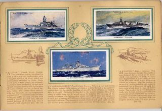 Tobacco Card Album Cards John Player Naval Craft Royal Navy Ships 1939