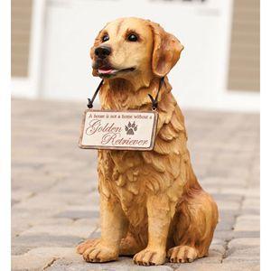 Golden Retriever Welcome Friends Dog Outdoor Statue