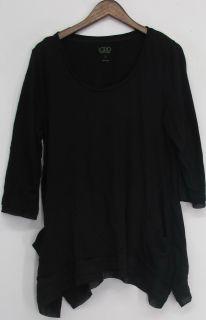 LOGO by Lori Goldstein Sz L Asymmetrical Hem Top Black NEW QQ15 83