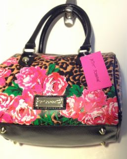 Johnson Leopard Print & Roses Glamour Girl Satchel Purse  Natural