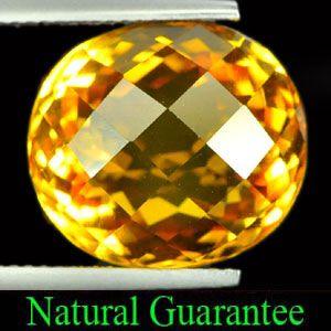 14 Ct Oval Checkerboard Natural Yellow Citrine Gemstone Brazil