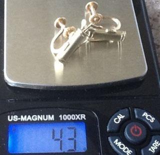 14k Solid Yellow Gold Golf Bag Earrings Screw on not Pierced Cute