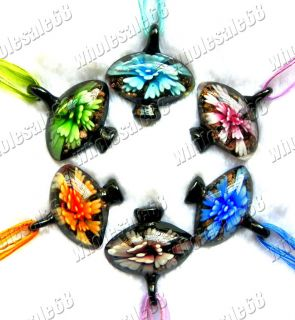 lots 6ps murano lampwork glass flower necklace pendant lantern Jewelry