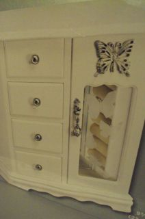 White Finsh Etched Glass Butterfly Jewelry Box Armoire