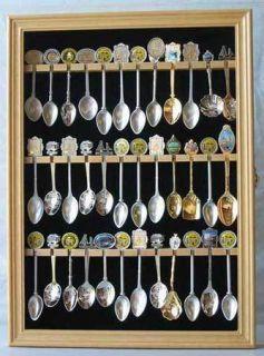 36 Spoon Display Case Holder Rack Wall Cabinet Shadow Box Glass Door