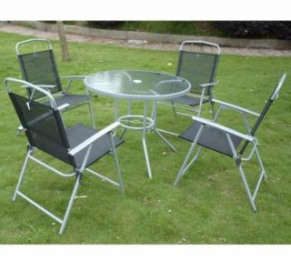 Outdoor Dining Garden Patio Set Glass Table w 4 Folding Chairs