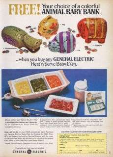 General Electric Animal Baby Bank OFFER Ad 1968