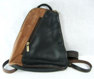 Vintage Giovanni Italian Leather Backpack Purse Small Black & Brown
