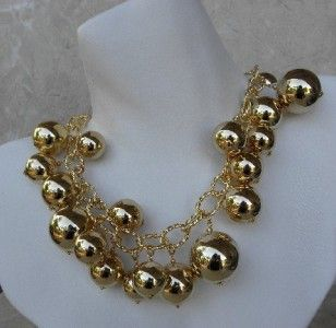 Kenneth Jay Lane Couture Jumbo Gold Ball Necklace New