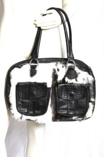 Elena Girardi Fur Black Leather Handbag Purse Satchel Bag $600+ Used