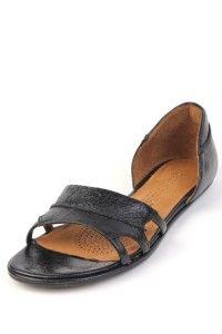 Gentle Souls Womens Brakester $185 Black Leather Sandal Kd Flat
